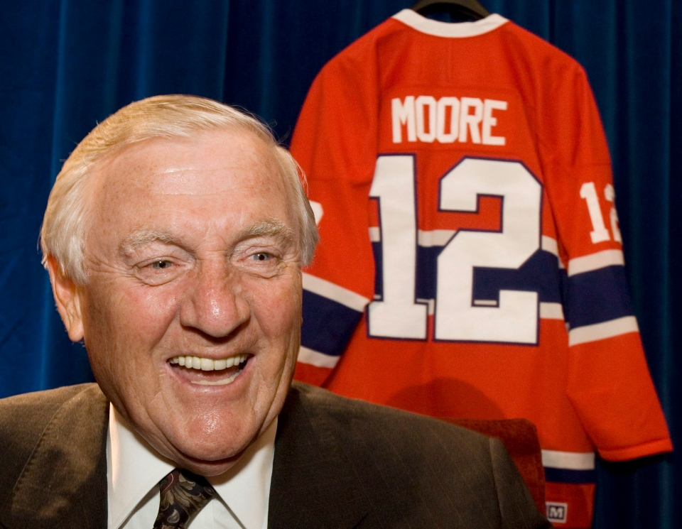 Former Montreal Canadiens Dickie Moore responds to questions on June 1, 2007 in Ottawa. (Paul Chiasson / The Canadian Press)