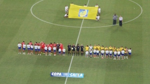 Canada and Brazil's women's soccer teams are seen ahead of a match at the the international tournament in Natal, Brazil on Sunday, Dec. 20, 2015. (Canada Soccer / Twitter)