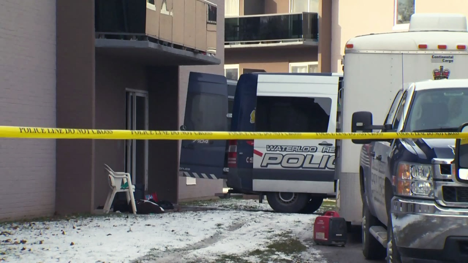 Police continue their investigation into a homicide on Westwood Drive in Kitchener on Sunday, Dec. 20, 2015.