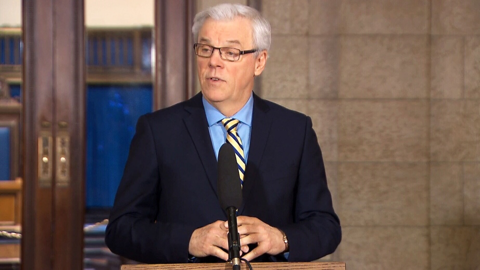 Manitoba Premier Greg Selinger makes an announcement about PTSD legislation in Winnipeg, Man., on Dec. 22, 2015.