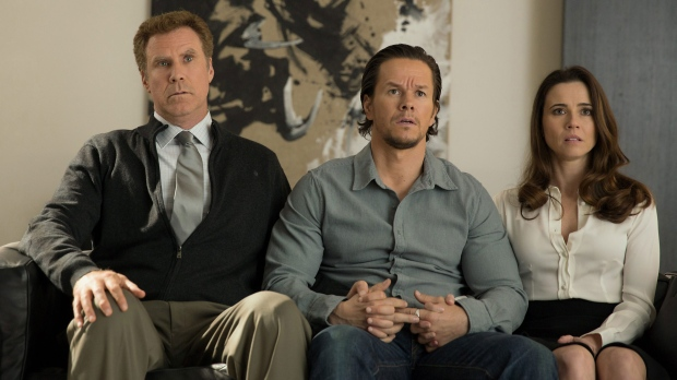 This photo provided by Paramount Pictures shows, Will Ferrell, from left, as Brad Whitaker, Mark Wahlberg as Dusty Mayron and Linda Cardellini as Sara, in the film, 'Daddy's Home', from Paramount Pictures and Red Granite Pictures. (Patti Peret/Paramount Pictures via AP)