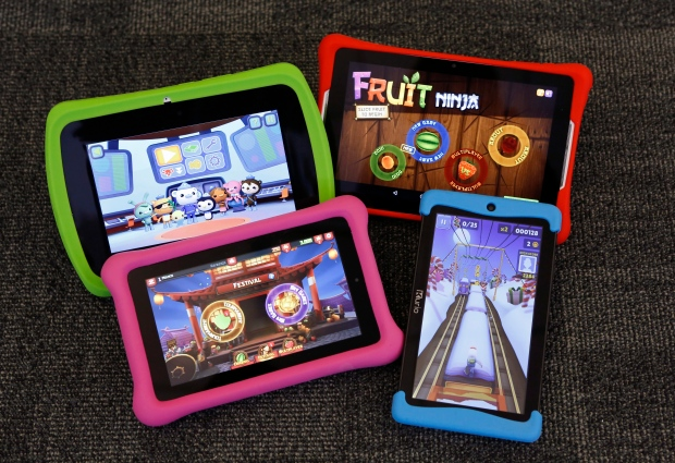 Four kids' tablets are displayed