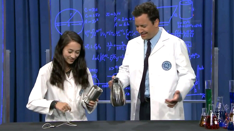 "Ann Makosinski demonstrates her eDrink mug on ""The Tonight Show"" with Jimmy Fallon."