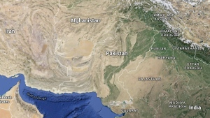 In this Google map, Pakistan is pictured.