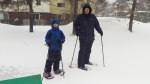 Snowshoeing in the city