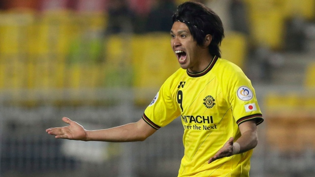 Masato Kudo of Kashiwa Reysol celebrates a goal on Wednesday, April 3, 2013. (AP Photo/Lee Jin-man)