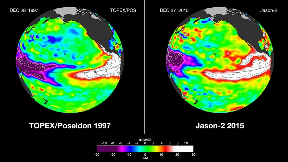 The latest satellite image of Pacific sea surface heights from Jason-2 (right) differs slightly from one 18 years ago from TOPEX/Poseidon (left). (NASA/JPL-Caltech)