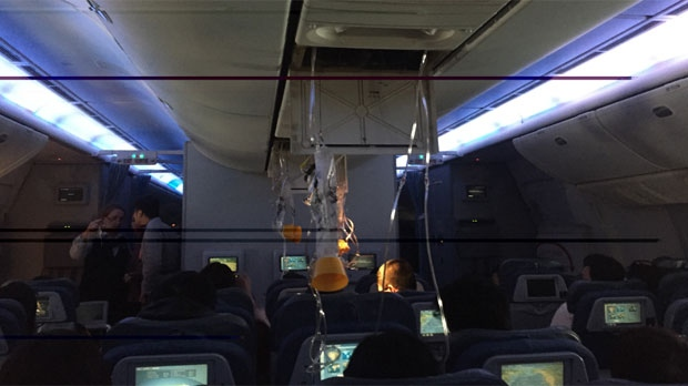 Oxygen masks deployed inside the airplane during the incident.