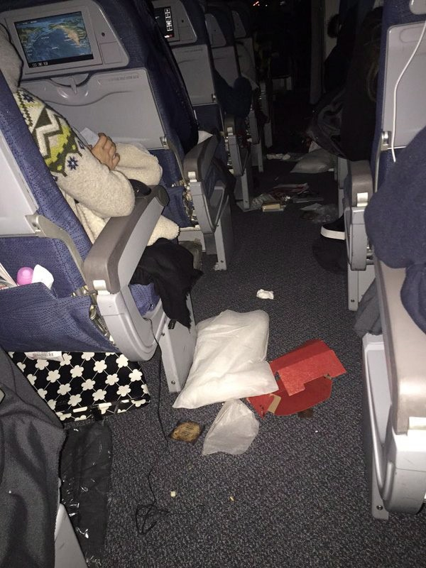 The cabin of Air Canada Flight 088 is shown in this image provided by passenger Helen Zhang to members of the media. (HO-Helen Zhang / THE CANADIAN PRESS)