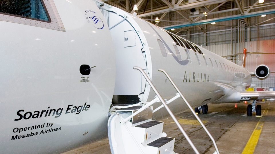 A Bombardier CRJ-900, sits on display on Wednesday, June 6, 2007 in Minneapolis. (AP / Jim Mone)