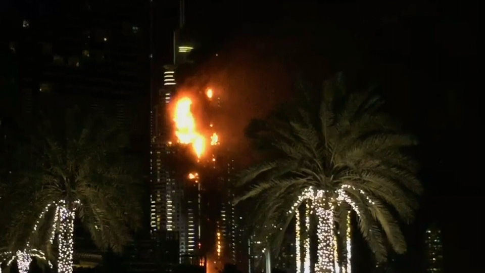 Fire broke out Thursday in a residential building near Dubai's massive New Year's Eve fireworks display.