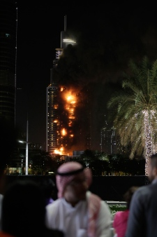 Fire burns from luxury tower in Dubai