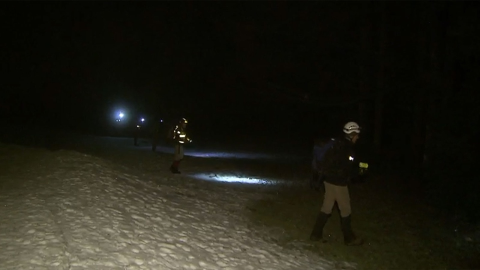 Rescue crews search for a missing hiker in Golden Ears Provincial Park on Friday, Jan. 1, 2016.