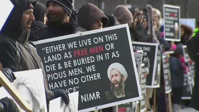 Dozens of protesters gathered outside the U.S. Consulate in Toronto to condemn the execution of Shiite cleric Sheikh Nimr al-Nimr in Saudi Arabia.
