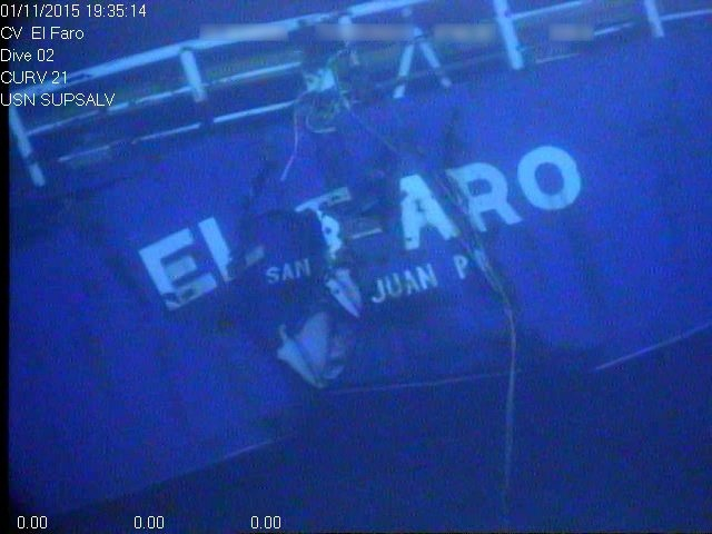In this photograph released by the National Transportation Safety Board, the damaged stern of the sunken freighter El Faro is seen on the seafloor, 15,000-feet deep near the Bahamas. (National Transportation Safety Board via AP)