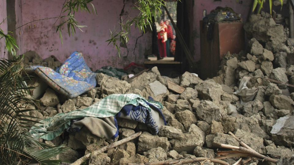 The interior of a house is damaged after an earthquake in Imphal, capital of the northeastern Indian state of Manipur, Monday, Jan. 4, 2016. (AP / Bullu Raj)