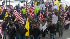 Protesters supporting ranchers march in Oregon