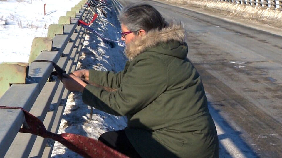 Lydia Daniels' son Colten Pratt has been missing in the fall of 2014. This weekend, men's dress ties were wrapped on bridges in Long Plain First Nation and in downtown Winnipeg.