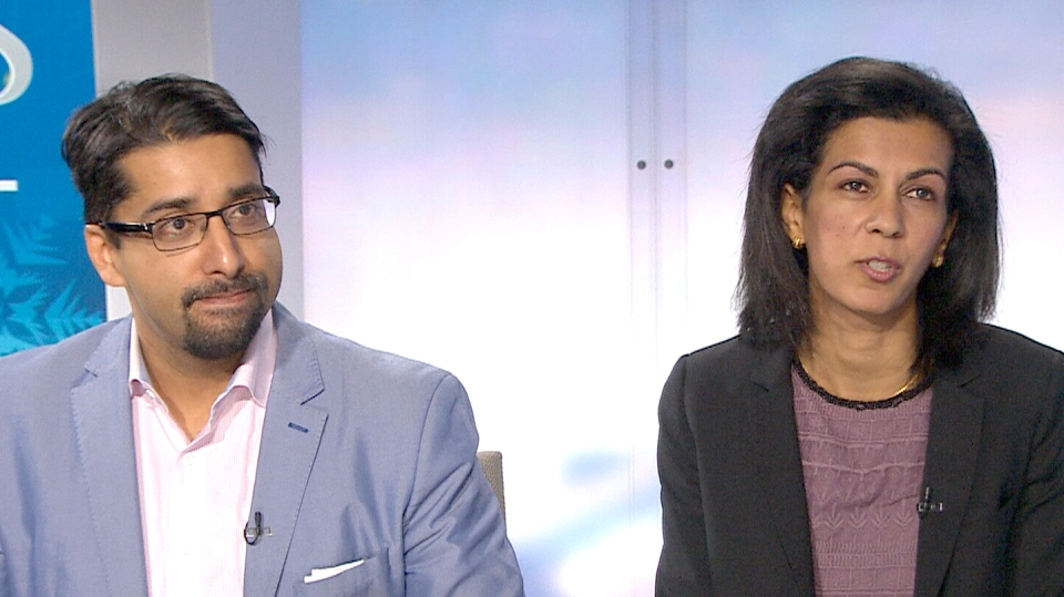 Sulemaan Ahmed, Khadija Cajee, parents of Syed Adam Ahmed, whose name appears on a travel security list, appear on CTV News, Monday, Jan. 4, 2016.
