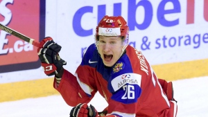 Yegor Korshkov of Russia celebrates after scoring during the 2016 IIHF World Junior Ice Hockey Championship semifinal match Helsinki, Finland, on Monday, Jan. 4, 2016. (Markku Ulander/Lehtikuva via AP)