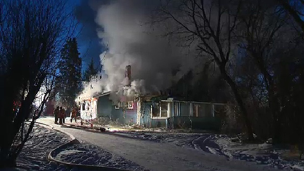 Firefighters on scene of a fire that destroyed a rural Strathcona County home early Monday, January 4.
