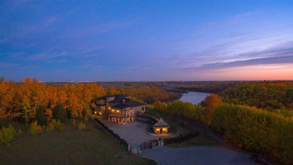 An estate home perched on the banks of the North Saskatchewan River just outside of Edmonton is listed for $7.5 million. (realtor.ca)