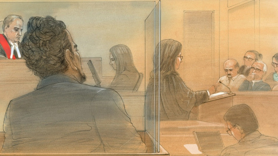 Melonie's father, Everton Biddersingh, listens as Crown attorney Mary Humphrey addresses the jury at a Toronto courthouse on Monday, Jan. 4, 2016. Biddersingh was found guilty of first-degree murder in January. (John Mantha/CTV Toronto)