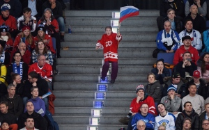 A young Russian fan cheers on her team as they take on the United States in semifinal hockey action at the IIHF World Junior Championship in Helsinki, Finland on Monday, Jan 4, 2016. (Sean Kilpatrick/THE CANADIAN PRESS)