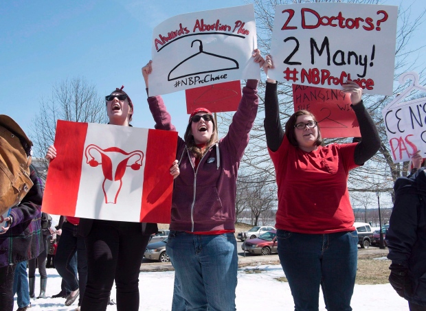 Pro-choice demonstrators in N.B.