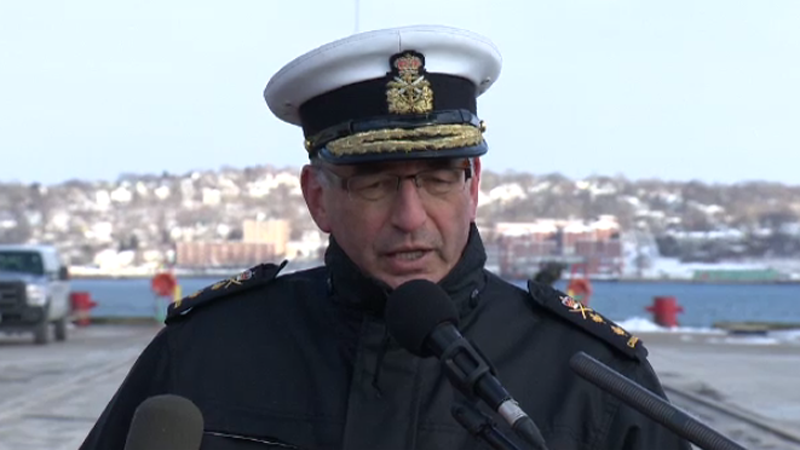 Rear Admiral John Newton responds to reporters' questions about an alleged military security breach on Jan. 5, 2016.