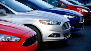 A row of 2015 Ford Fusions on the sales lot at Butler County Ford in Butler, Pa. on Thursday, Nov. 19, 2015. (AP/ Keith Srakocic)