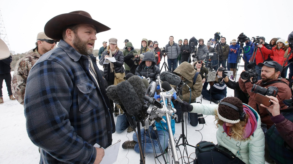 Ammon Bundy, one of the sons of Nevada rancher Cliven Bundy, speaks with reporters during a news conference at Malheur National Wildlife Refuge headquarters near Burns, Ore., Tuesday, Jan. 5, 2016. (AP / Rick Bowmer)