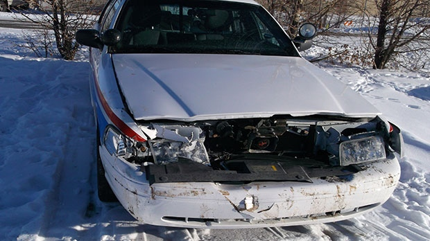 A police cruiser was rammed during the incident. (Photo: Calgary Police)