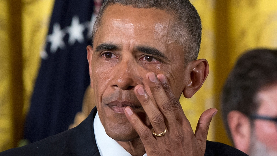U.S. President Barack Obama wipes away tears from his eyes as he speaks in the East Room of the White House in Washington, Tuesday, Jan. 5, 2016. (AP / Carolyn Kaster)