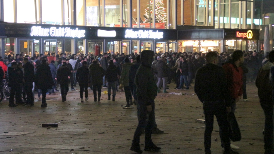 People gather at the Cologne, Germany, main station on Dec. 31, 2015. (Markus Boehm / dpa)
