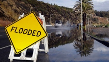 Flooded Pacific Coast Highway in Malibu, Calif.