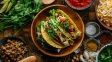 Tacos featuring green lentils and chickpeas. (Tim Chin / THE CANADIAN PRESS)