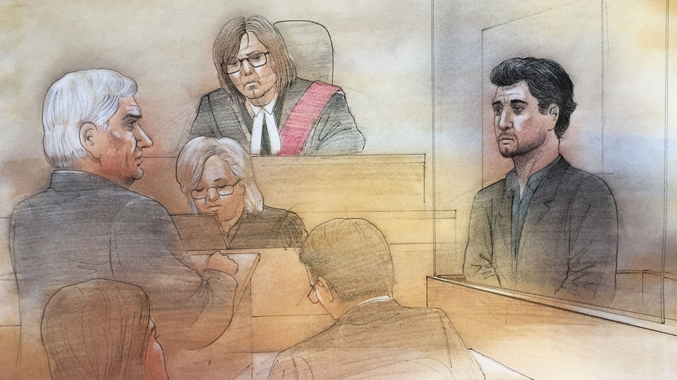 This courtroom sketch shows Marco Muzzo, right, and lawyer Brian Greenspan on Jan. 6, 2016. (John Mantha / CTV Toronto)