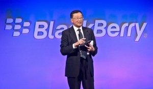 BlackBerry CEO John Chen introduces the company's new phone, the BlackBerry Classic, during a news conference, Wednesday, Dec. 17, 2014, in New York. (Bebeto Matthews / The Canadian Press)