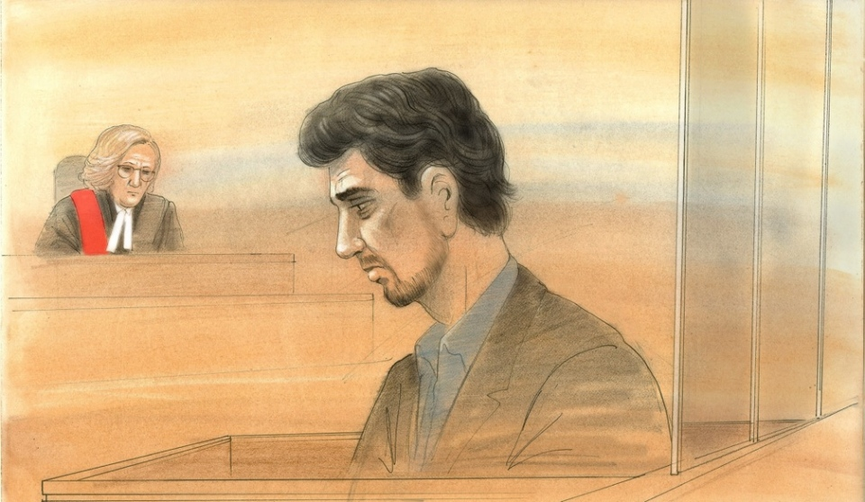 This sketch shows Marco Muzzo inside a Newmarket courtroom on Jan. 6. (John Mantha)