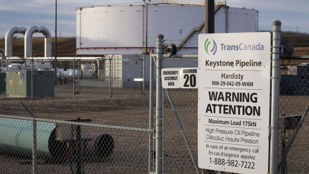 TransCanada's Keystone pipeline facilities in Hardisty, Alta., Friday, Nov. 6, 2015. TransCanada launched a double-barrelled legal salvo Wednesday against the U.S. government over its rejection of the company's proposed Keystone XL pipeline. THE CANADIAN PRESS/Jeff McIntosh