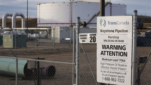 TransCanada's Keystone pipeline facilities in Hardisty, Alta., Friday, Nov. 6, 2015. (Jeff McIntosh/The Canadian Press)
