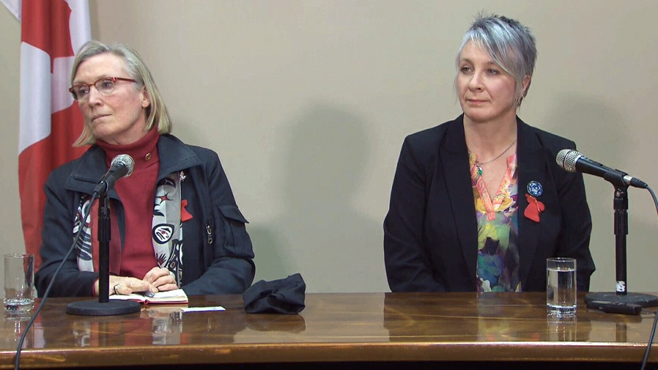 Indigenous Affairs Minister Carolyn Bennett, left, and Status of Women Minister Patty Hajdu speak about the inquiry into missing and murdered aboriginal women and girls in Thunder Bay, Ont., Wednesday, Jan. 6, 2016.