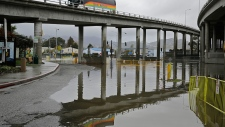 Flooded offramp in Mill Valley, California