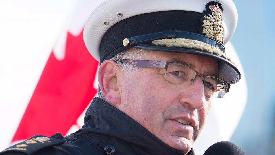 Rear Admiral John Newton, commander of Maritime Forces Atlantic, talks with reporters, in Halifax, on Tuesday, Jan. 5, 2016. (Andrew Vaughan / THE CANADIAN PRESS)