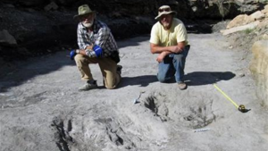 This undated photo provided in January 2016 by Dr. Martin Lockley shows him, right, and co-author Ken Cart beside two large Cretaceous-age scrapes from western Colorado that are the first physical-reported evidence that large theropod dinosaurs engaged in courtship behavior. (Courtesy of Martin Lockley via AP)