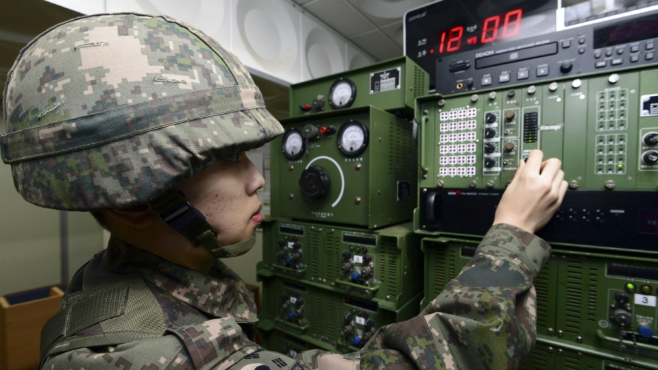 A South Korean soldier adjusts equipment used for the propaganda broadcasts at a studio near the border between South Korea and North Korea in Yeoncheon, South Korea, Friday, Jan. 8, 2016. (Lim Tae-hoon / Newsis)