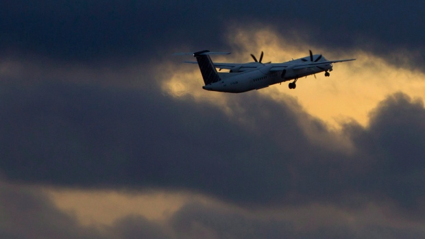 A Porter Airlines plane takes off