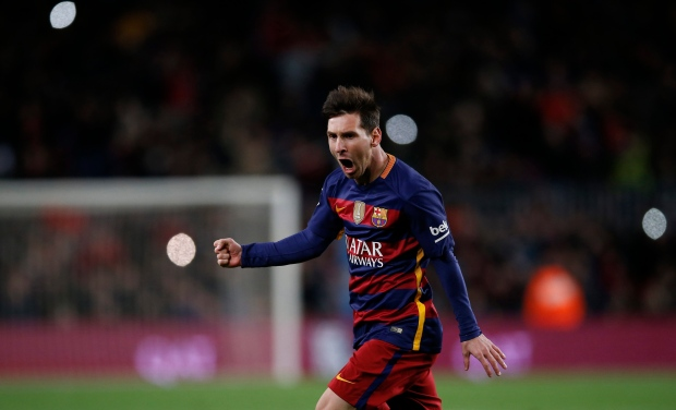 FC Barcelona's Lionel Messi celebrates scoring against Espanyol during a Copa del Rey soccer match at the Camp Nou stadium in Barcelona, Spain, Wednesday, Jan. 6, 2016. (AP Photo/Manu Fernandez)