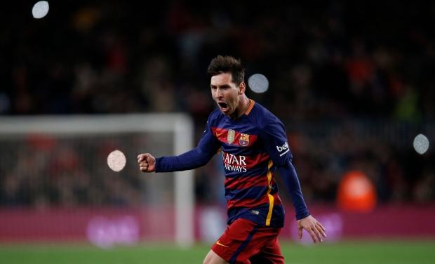 FC Barcelona's Lionel Messi celebrates scoring against Espanyol during a Copa del Rey soccer match at the Camp Nou stadium in Barcelona, Spain, Wednesday, Jan. 6, 2016. (AP Photo/Manu Fernandez)